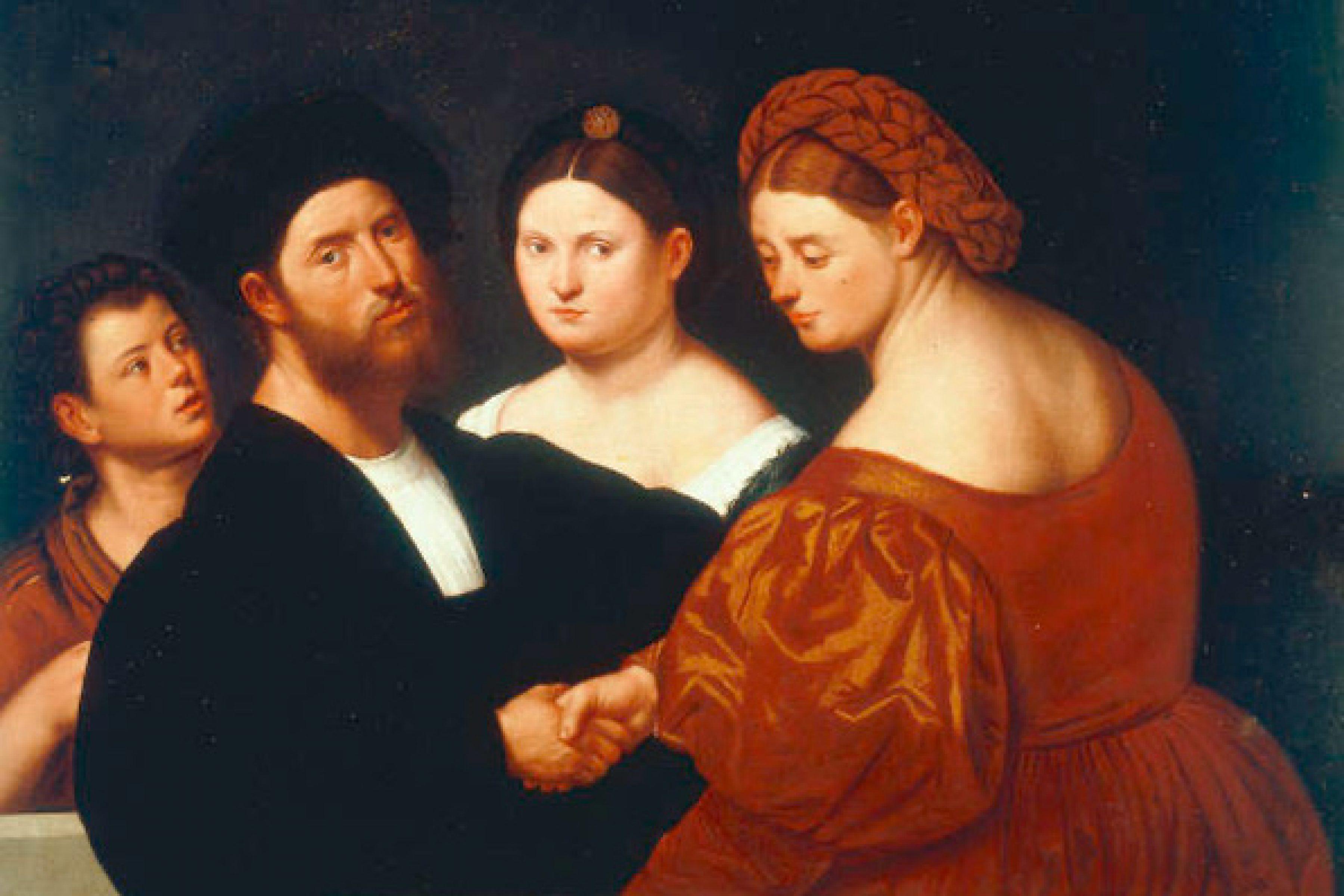 2-M140-A3-1520  B.Licinio, Familienbild  Licinio, Bernardino um 1489 - vor 1565, Kopie nach verlorenem Original(?). 'Familienbild', undat. Oel auf Leinwand, 100 x 124 cm. Inv.Nr. 802 Venedig, Galleria dell'Accademia.  E:  B.Licinio / Family Portr./ Paint./ C16  Licinio, Bernardino c.1489 - before 1565. Copy of lost original(?). 'Family portrait', undat. Oil on canvas, 100 x 124cm. Inv.no. 802 Venice, Galleria dell'Accademia.  F:  B. Licinio / Portrait de famille  Licinio, Bernardino , v. 1489 - av. 1565. Copie d'ap. original perdu. - 'Portrait de famille'. - Huile sur toile. H. 1,00 , L. 1,24. Inv.Nr. 802 Venise, Galleria dell'Accademia.